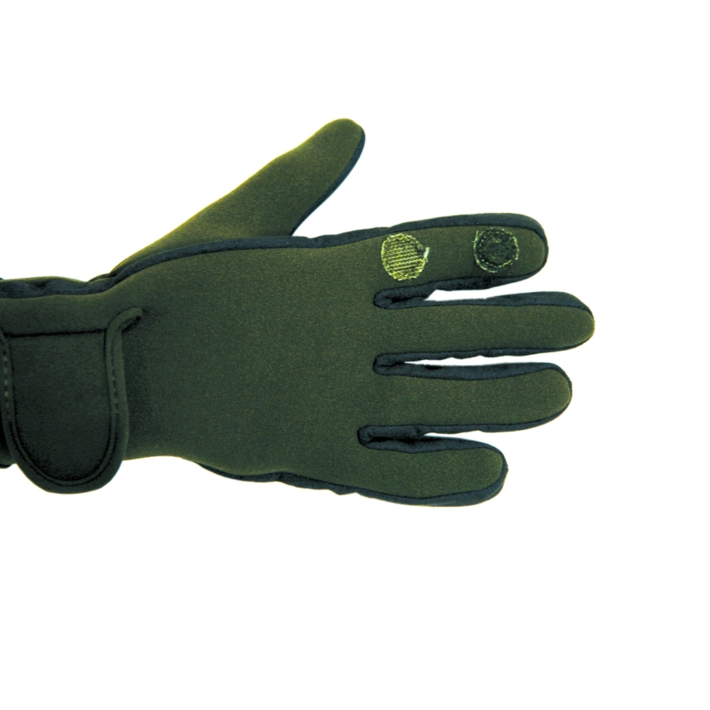 Percussion thick neoprene shooting gloves in Green