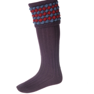 House of Cheviot Angus Socks and Garters Unique Bobble Pattern In Thistle