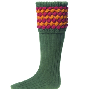 House of Cheviot Angus Socks and Garters Unique Bobble Pattern In Spruce