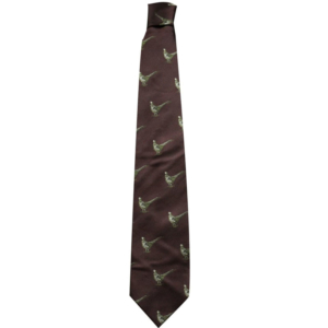100% Silk Tie By Bisley – Burgandy Pheasants