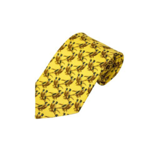 100% Silk Tie By Bisley – Solid Yellow Pheasants