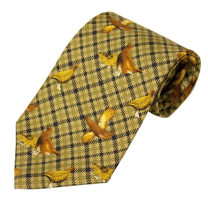 100% Silk Tie By Bisley - Green Grouse