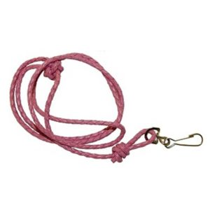 Pink Plaited Leather Lanyard by Bisley
