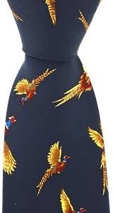 100% Silk Ties By Bisley - Navy Pheasants