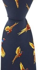 100% Silk Ties By Bisley - Navy Pheasants