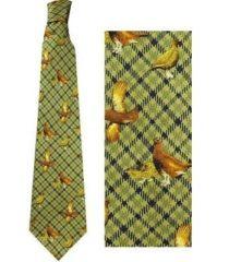 100% Silk Ties By Bisley - Green Grouse