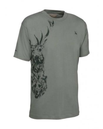 Verney Carron Totem Short Sleeve T-Shirt Stag In Khaki