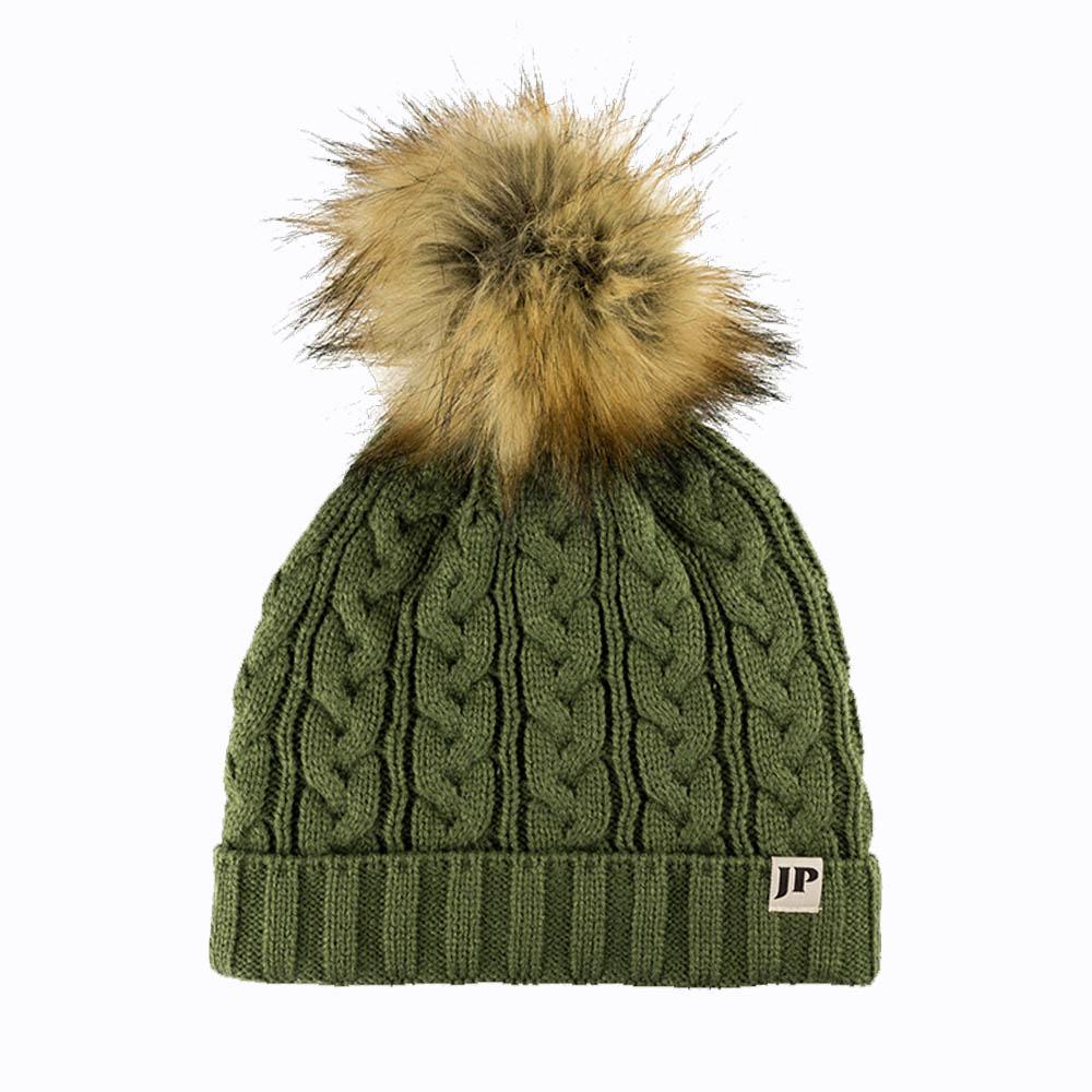 Jack Pyke Ladies Cable Knit Bob Hat olive