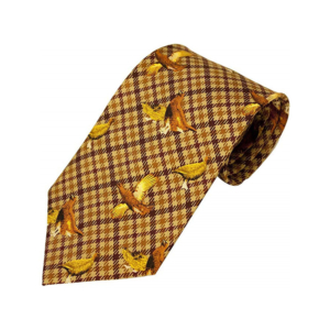 100% Silk Tie By Bisley – Brown Grouse