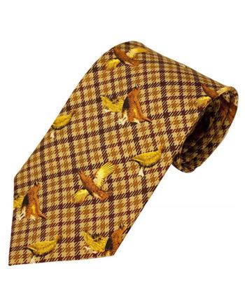 100% Silk Tie By Bisley – Brown Grouse