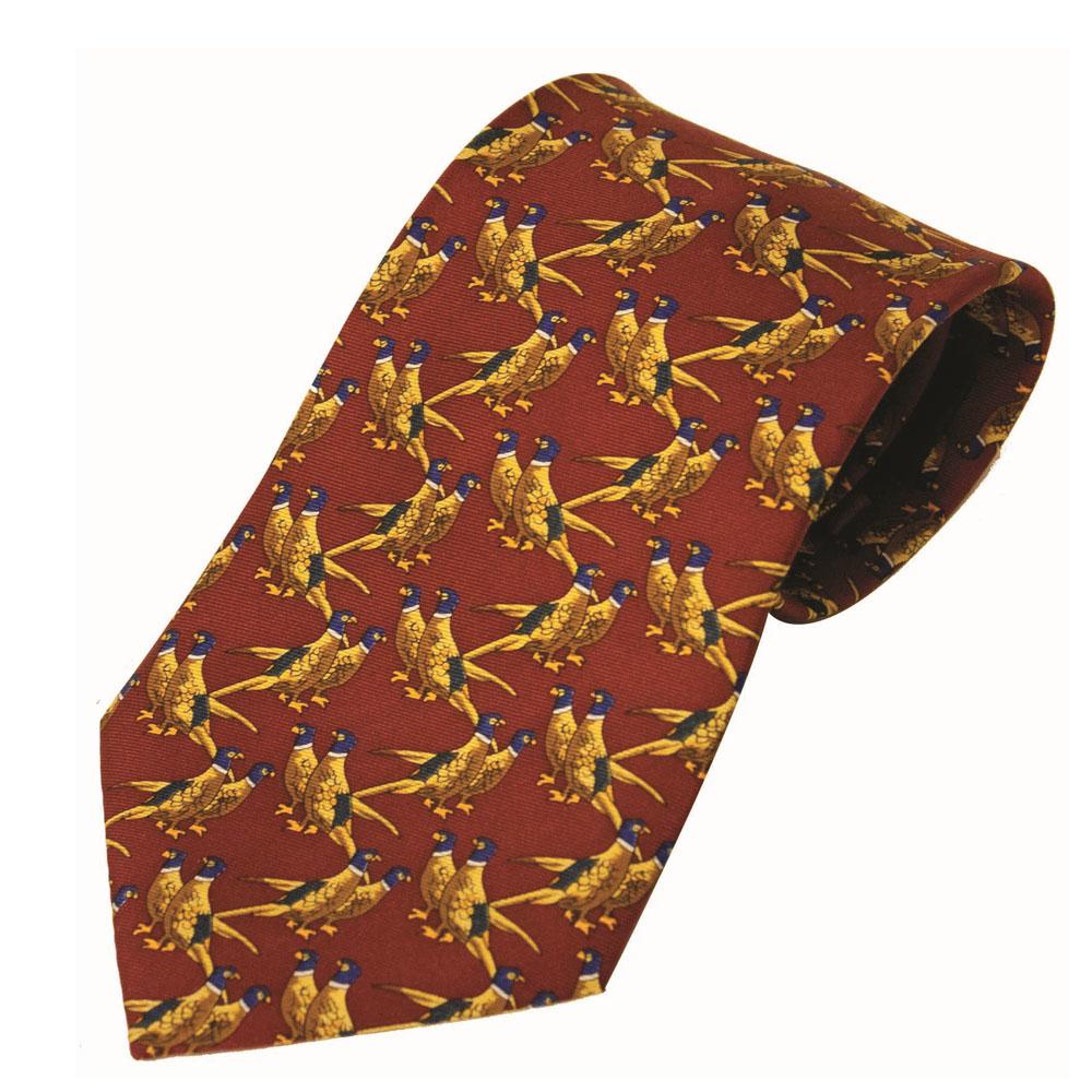 100% Silk Tie By Bisley – Solid Red Pheasants