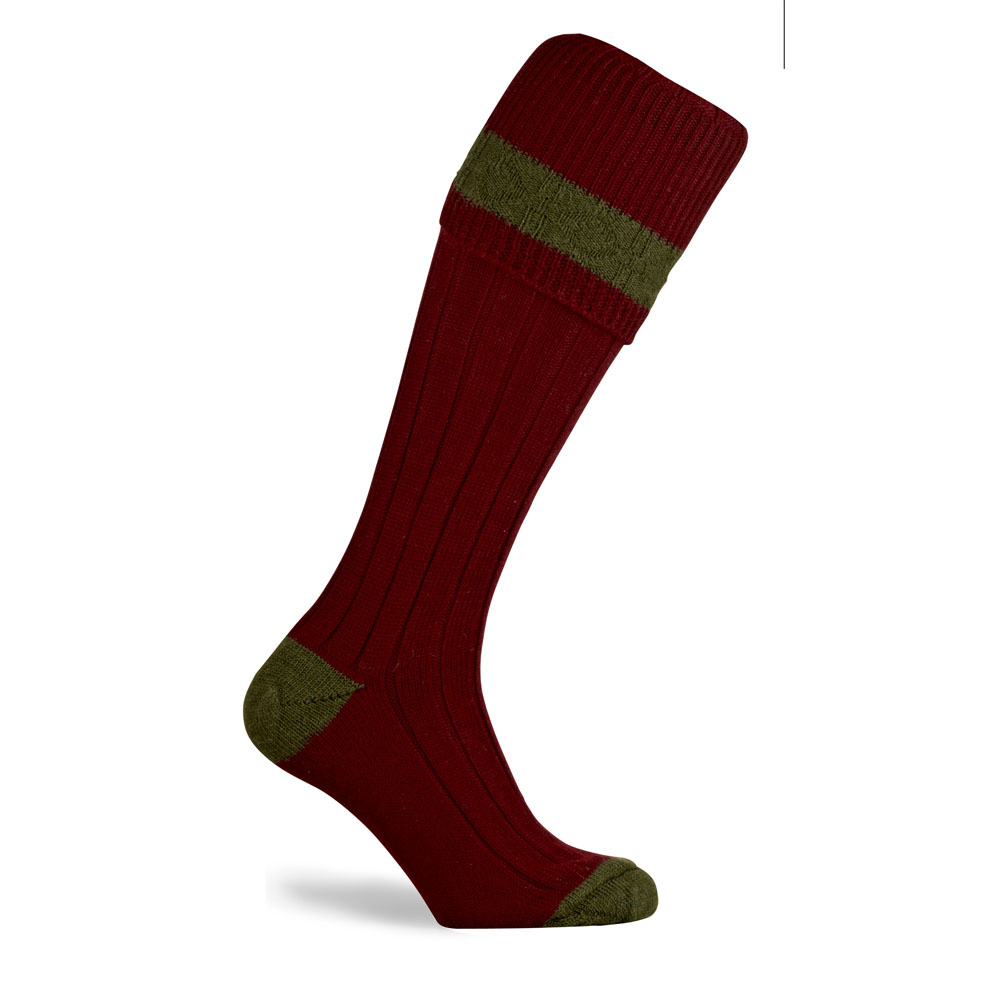Pennine Byron Shooting Sock Burgundy