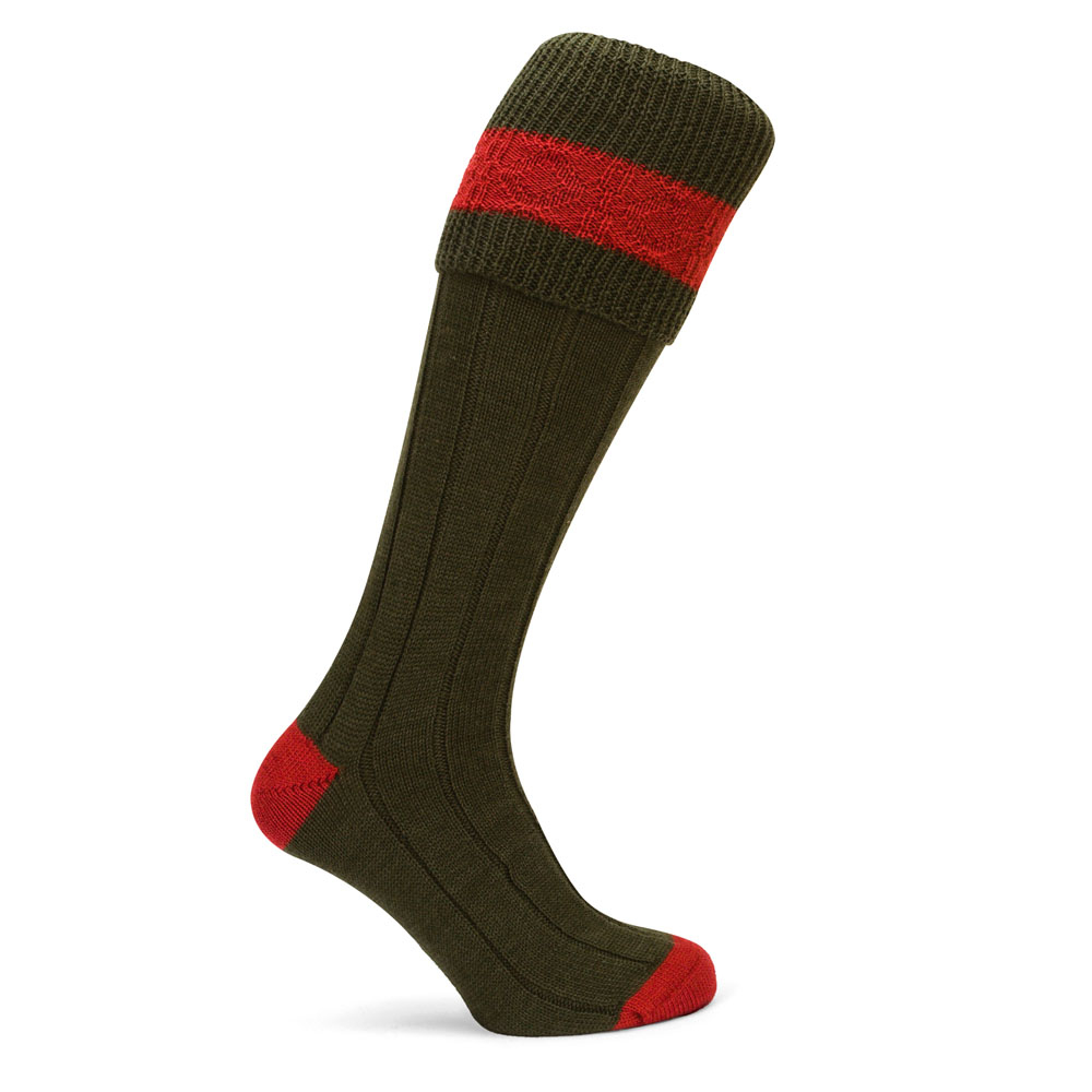 Pennine Byron Shooting Sock Olive Ruby
