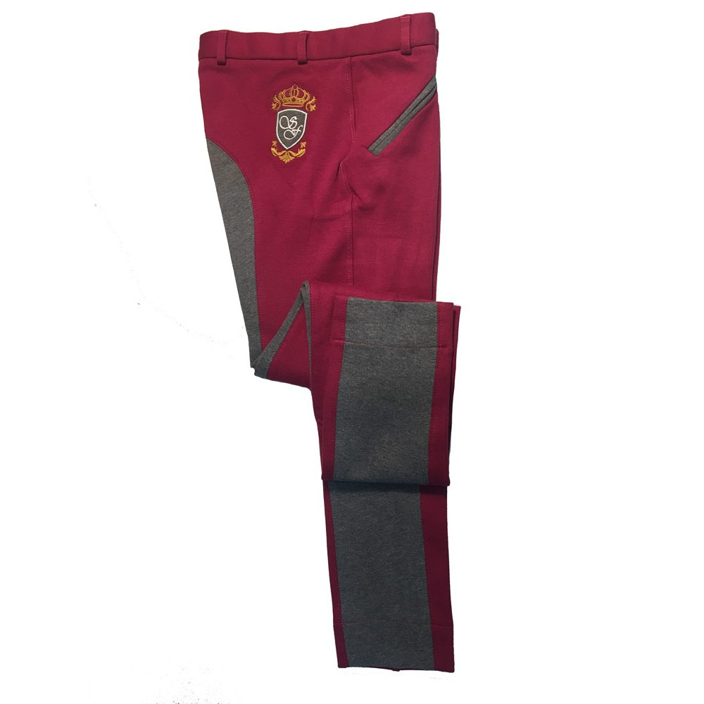 Sherwood Forest Two Tone Yield Jodhpurs In Dark Raspberry & Melange Grey