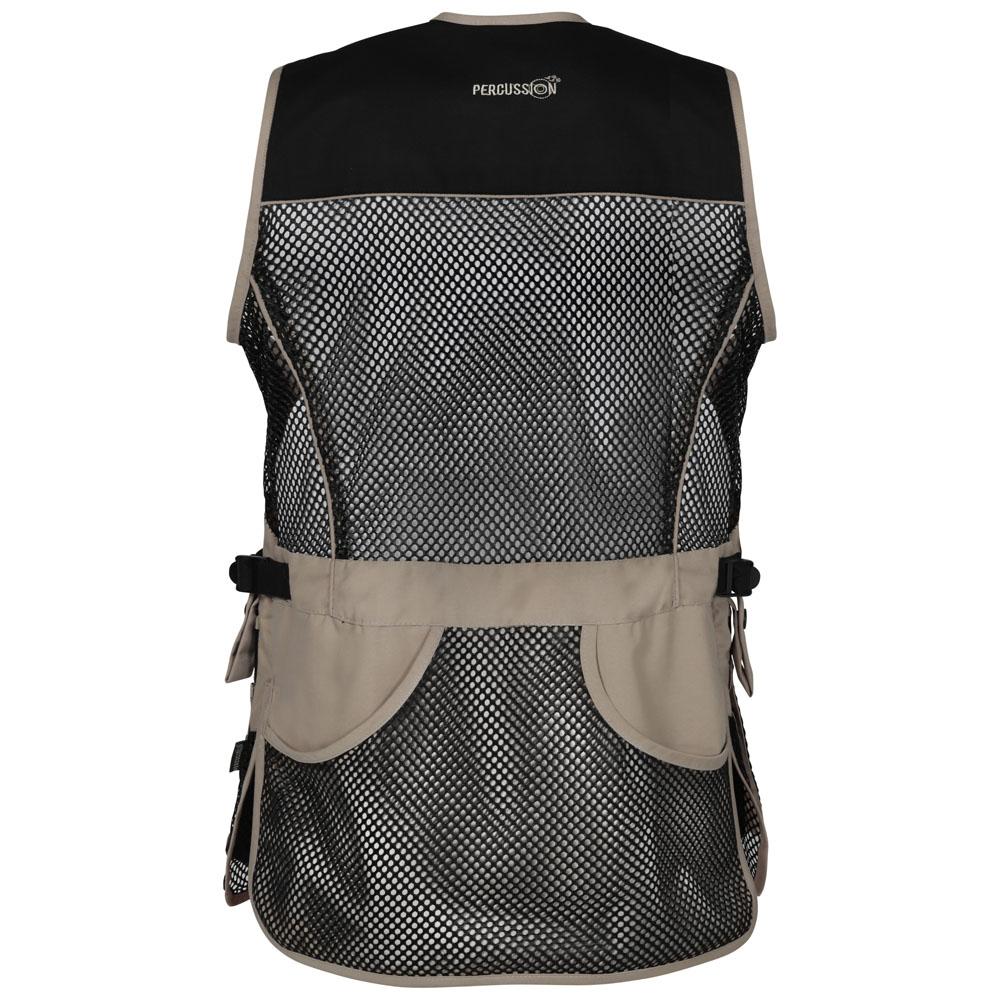 percussion skeet vest black and beige back