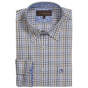 CLUB INTERCHASSE NIL – BLUE / BROWN MEN LONG SLEEVE SHIRT
